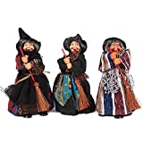 Set of 3 Witch Figurines - Perfect for Halloween - Indoor Halloween Decoration, 4 x 6.5 x 2.2 Inches