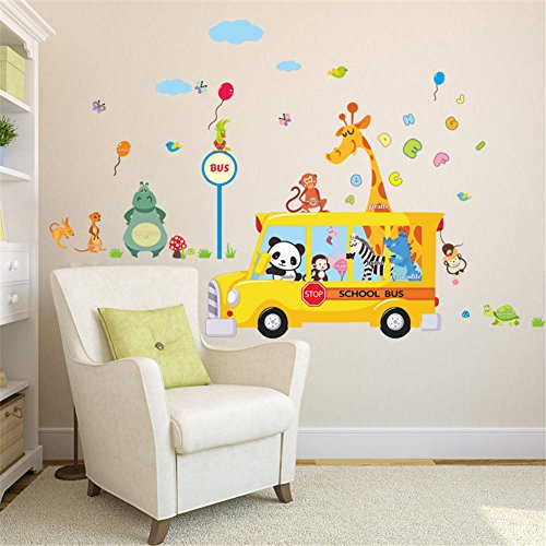 BIBITIME Jungle Animal School Bus Wall Decal Panda Monkey Zebra Flamingo Alligator Giraffe Stop Sign Parrot Hippo Kangaroo Turtle Vinyl Sticker Balloon Sky Letter (Giraffe Peace Sign)