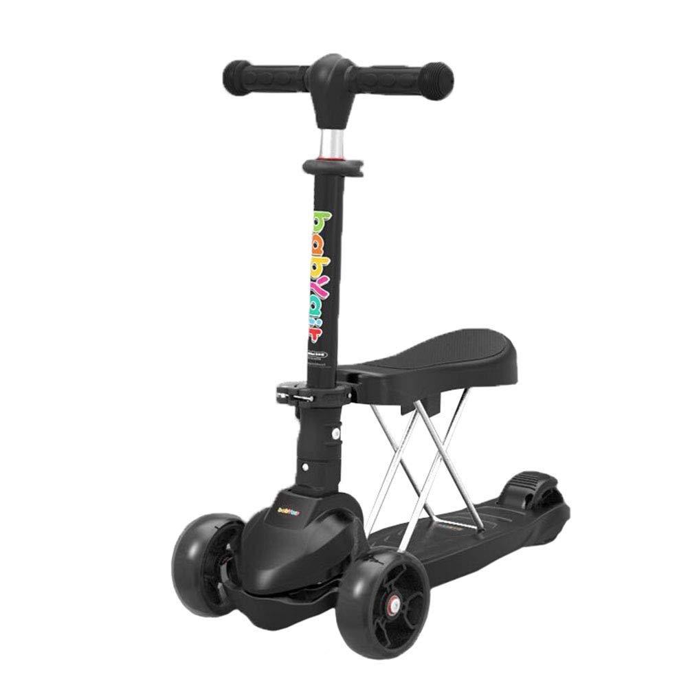 使い勝手の良い スクーターを蹴る子供たち 折りたたみクールスクーター ブラック、自転車3輪スイング車 : (色 ブラック : ピンク) B07R41YSX8 ブラック ブラック, IBIZASTORE イビザストア:0346aa3d --- 4x4.lt