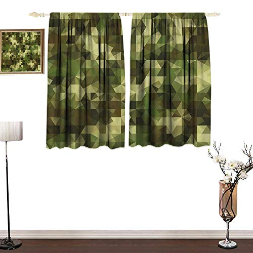 Sage Double Sconce - one1love Fashion Curtain Sage Abstract Camouflage Pattern with Fractal Look Geometric Triangles Shapes Mosaic Design Mildew-Proof Polyester Fabric W84 xL72