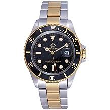 Fanmis Black Dial Ceramic Bezel Sapphire Glass Luminous Quartz Silver Gold Two Tone Stainless Steel Watch (gold)