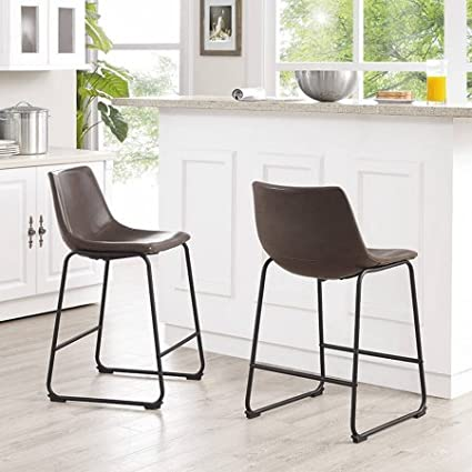 Amazon Com Walker Edison Brown Faux Leather Counter Stools Set Of