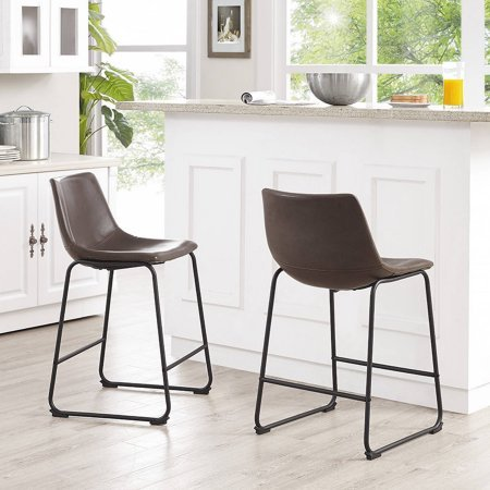 Walker Edison Brown Faux Leather Counter Stools, Set of 2 (Macy's Patio Furniture Clearance)