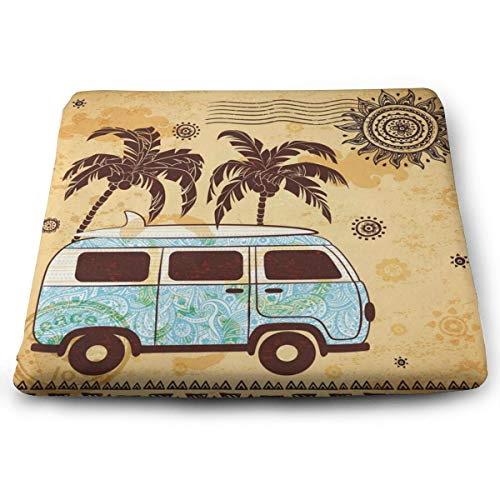 (Ladninag Seat Cushion Retro Stylish Ethnic Palm Tree Bus Chair Cushion Personalized Offices Butt Chair Pads for Kitchens)