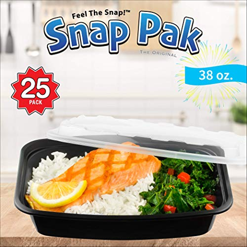 (Snap Pak 12009 Storage Containers 38 oz. Clear Lid/Black Base BPA Free, Microwave, Freezer & Dishwasher Safe Air Tight Seal, Very Durable Keeps Food Fresh)
