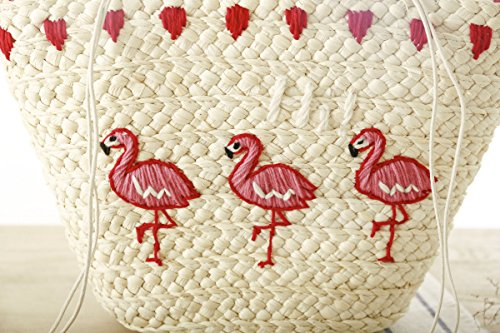 Mogor Women Straw Shoulder Bag A5 Woven Shopping Tote Bag Drawstring Beach Bag Large 1# by Mogor (Image #2)
