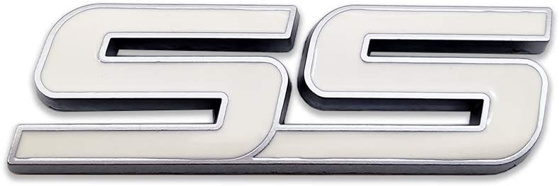 AxleZx Metal SS Logo Car Front Grille Emblem 3D Super Sport Grill Badge for Chevrolet Camaro SS White