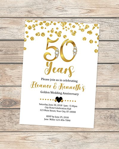 Amazon Com 50th Wedding Anniversary Invitation Black And Gold 50th
