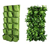 OriginA Grow Bag, Patio Flower Planter, Garden Planter, 20''-W x 40''-L Vegetable Container(Vertical 18 Pockets, Green 1Pack)