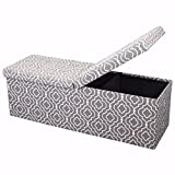 Otto & Ben 45″ Storage Ottoman Folding Toy Box Chest with Smart Lift Top Mid Century Upholstered Bench Foot Rest, Moroccan Grey