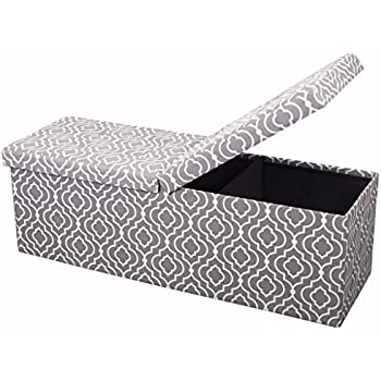 """Otto & Ben 45"""" Storage Folding Toy Box Chest with Smart Lift Top Mid Century Upholstered Ottomans Bench Foot Rest, Moroccan Grey"""