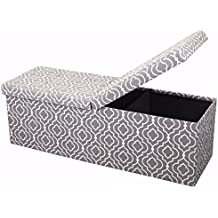 """Otto & Ben 45"""" Storage Ottoman with SMART LIFT Top, Upholstered Large Folding Foot Rest Stools Table Ottomans Bench, Moroccan Gray"""