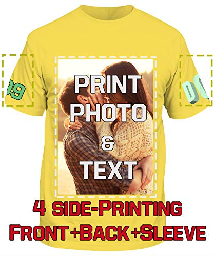 Text T-shirt Yellow - Custom T-Shirts Add Your Own Image Text Logo Design 4 Side Front Back Sleeve Daisy Yellow