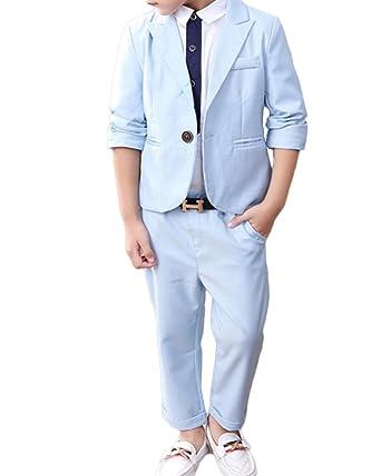 Quge 2Piezas Trajes De Ceremonia para Niños Graduación Traje Niño Traje De Boda Blazer+ Pantalones Largos