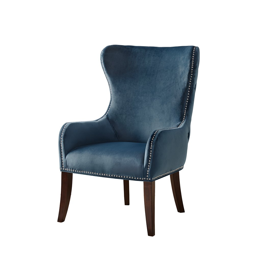 Madison Park Hancock Button Tufted Back Accent Chair Blue See Below by Madison Park