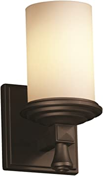 Amazon Com Justice Design Group Fusion 1 Light Wall Sconce Dark Bronze Finish With Opal Artisan Glass Shade Home Improvement