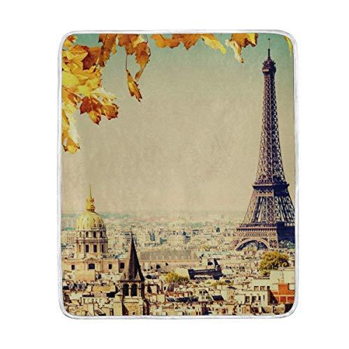 KEEPDIY Paris Town Landscape Eiffel Tower Blanket-Warm,Lightweight,Soft,Pet-Friendly,Throw for