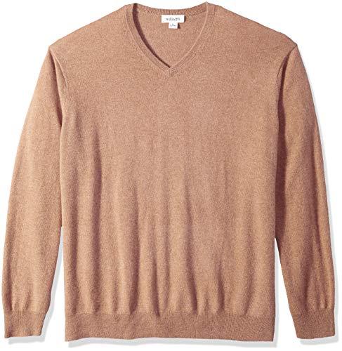 Williams Cashmere Men's 100% Cashmere V Neck Pullover Sweater, Camel Large
