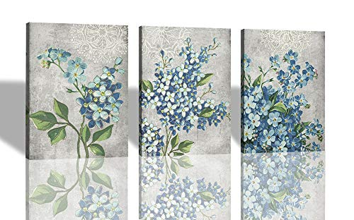 "Canvas Wall Art Full Bloosm Flowers Painting Pictures Blue Florals Prints, Retro Grey 12""x16""x3 Panels Botanical Stretched and Framed Ready to Hang for Bedroom Living Room Bathroom Home Office Décor"