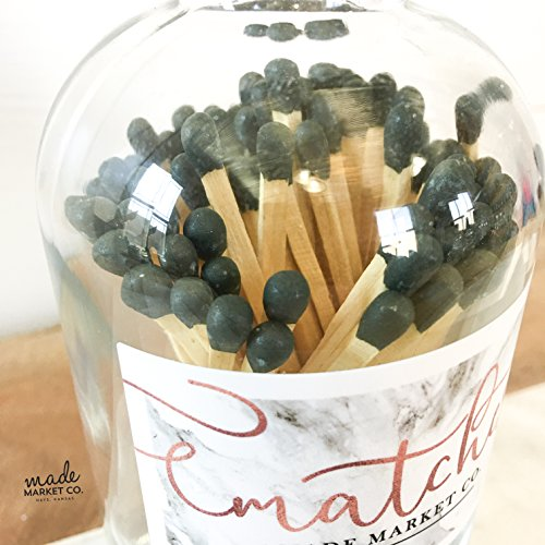 Olive Tip Colored Matches. Match Sticks Ball Glass Top Bottle. Farmhouse Home Decor. Unique Gifts for her. Best Seller Most Popular Item