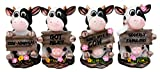 "Atlantic Collectibles Animal Farm Bovine Cow Sisters Figurine Set of Four 3.75""H Holding Funny Signs Collectible Sculptures"