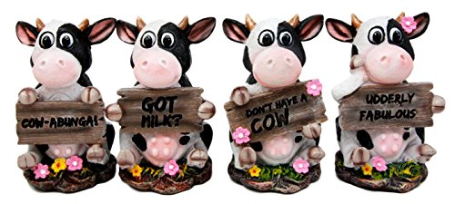 - Atlantic Collectibles Animal Farm Bovine Cow Sisters Figurine Set of Four 3.75
