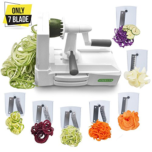 Only 7-Blade Vegetable Slicer Strongest Heaviest Duty Veggie Pasta Spaghetti Maker for Healthy Low Carb/Paleo/Gluten-Free Meals With 3 Exclusive Recipe E-Books … (White Pasta Recipes)