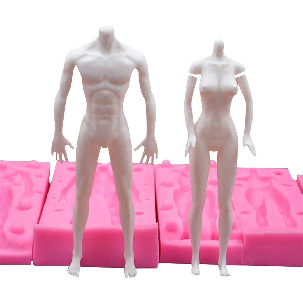 1 Set 3D Male and Female Whole Body Models Silicone Mold,Fondant Chocolate Ice Cube Jelly Cake Decorating Mould Baking Tools,DIY Clay Plaster Toys Models Human Body Mould, Baking Mold Bakeware Pan by VAlink (Image #5)