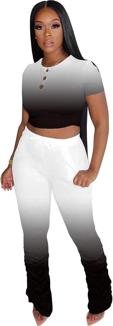 ZOCAVIA Women's 2 Piece Jumpsuit Short Sleeve Crop Top Ruffle Wide Leg Pant Set Romper Outfit