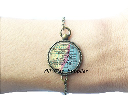 Charming Bracelet,Miami map Bracelets, Miami Bracelets, Ft Lauderdale, Miami Beach, Hialeah, Coral Gables, Miami map - Gables Coral Stores