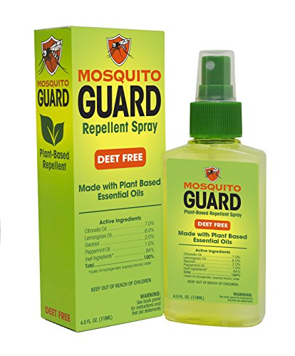 Mosquito Guard Repellent Spray, (4 oz) Made with Natural Plant Based Ingredients - Citronella, Lemongrass Oil and Geraniol. DEET FREE