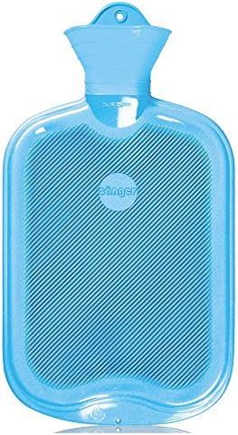 2 Liter Gummi-Wärmflasche, Wärmeflasche Warmtherapie 1-seitig Lamellen, hellblau