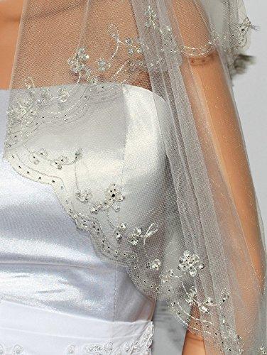 (2T 2 Tier Silver Lined Beaded Edge Fingertip Length Bridal Wedding Ivory Veil)