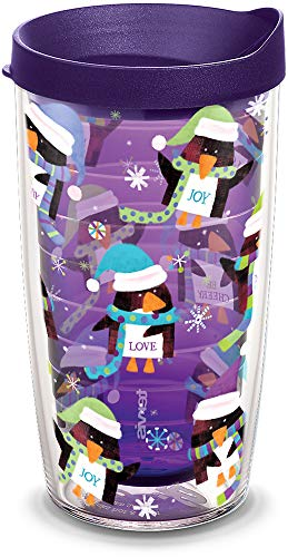 Tervis 1308272 Holiday Penguins Insulated Tumbler with Wrap and Royal Purple Lid, 16oz, Amethyst