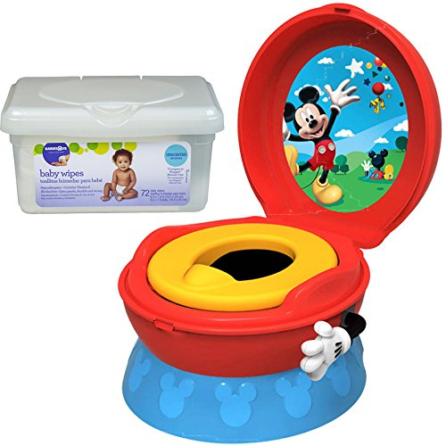 The First Years Disney Baby Mickey Mouse 3-in-1 Potty Toilet Training Seat for Toddler Boys with Baby Wipes