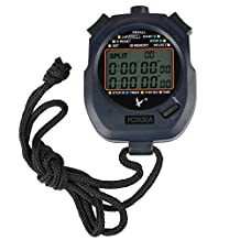 Flexzion Digital Chronograph Timer Stopwatch Countdown Sports Stop Watch Counter 30 Memories Handheld for Swimming Running Interval Outdoor Activities With Large LCD Display Neck Strap Black