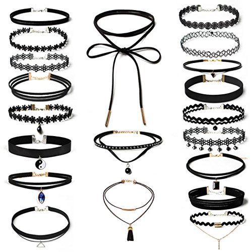(DondPO Choker Necklace For Women Girls-20Pieces Choker Necklace Set Stretch Velvet Classic Gothic Tattoo Lace Choker (Black))