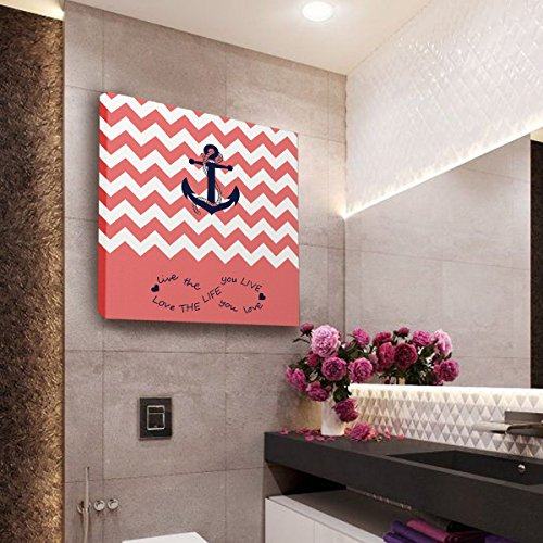 Anchor Love The Life You Love Chevron Zig Zag Ripple Coral White - Oil Painting On Canvas with Wood Frame Modern Wall Art Pictures For Home Decoration,12''x12'' by Prime Leader (Image #4)'