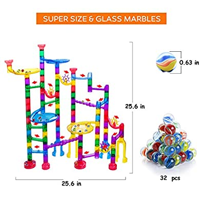 Gifts2U Marble Run Sets Kids, 122 PCS Marble Race Track Game 90 Translucent Marbulous Pieces + 32 Glass Marbles, STEM Marble Maze Building Blocks Kids 4+ Year Old: Toys & Games