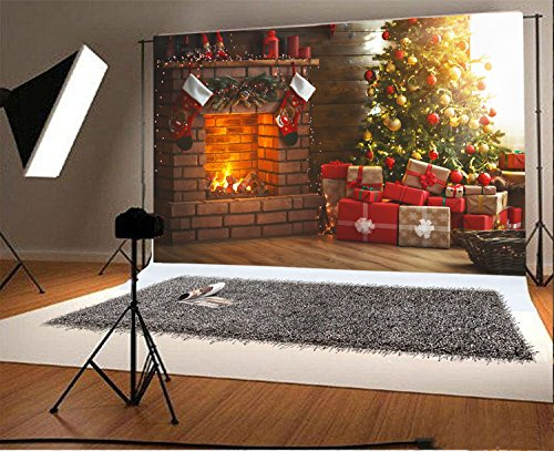Laeacco 10x6.5ft Vinyl Photography Backdrop Interior Christmas Magic Glowing Tree Fireplace Gifts Red Stocking Scene Photo Background Children Baby Adults Portraits Backdrop ()