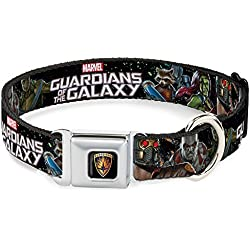 Buckle Down DC-WMC083-L Seatbelt Dog Collar, Large, Guardians of The Galaxy 5-Character Group Galaxy Black/Blue/Orange/Greens