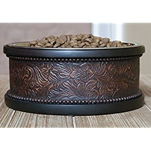 Pet Junkie Wyoming Designer Pet Bowl, Unique Feeder for Dogs and Cats. Brown Faux Leather with Floral Pattern, Stainless Steel Dishwasher Safe Inner Bowl for Easy Cleaning - Small, 16oz (2 cups)