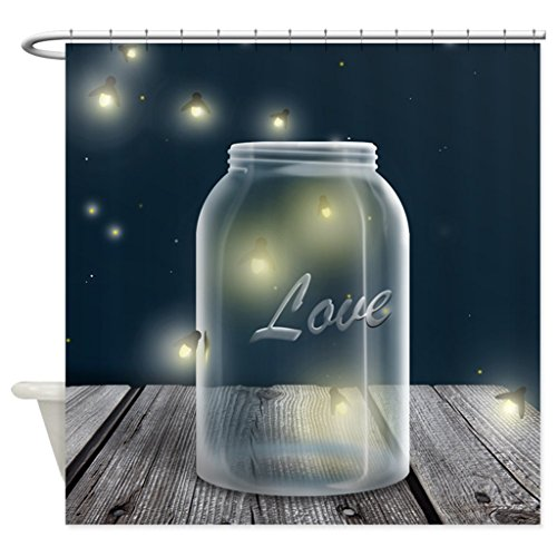 Eyelets 12 Piece (JKYUKO Midnight Fireflies Mason Jar Shower Curtain 66