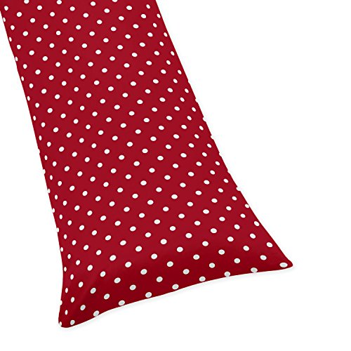 Sweet Jojo Designs Polka Dot Full Length Double Zippered Body Pillow Case Cover for Ladybug Collection ()