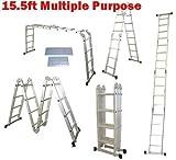 QuestCraft 15.5 Ft Multi Purpose Aluminum Folding Step Platform Scaffold Ladder 330LB 15.5' by QuestCraft