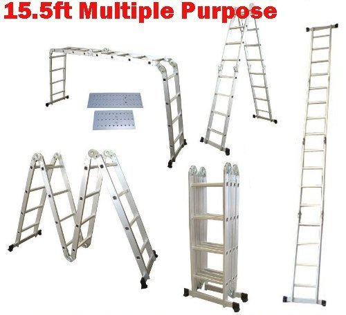 QuestCraft 15.5 Ft Multi Purpose Aluminum Folding Step Platform Scaffold Ladder 330LB 15.5' by QuestCraft