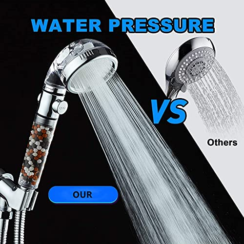 LucaSng Ionic Shower Head, Handheld High Pressure Water Saving,4 Modes Filter Showerhead, withShower hosepipe and Holder, Suitable for Dry Skin and Hair