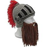 Flyou Beard Hat Roman Knight Helmet Visor Cosplay Knit Beanie Hat Cap Wind Mask