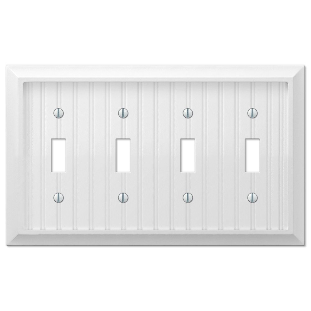Cottage White Wood Four Quad Toggle Wall Switch Plate Cover