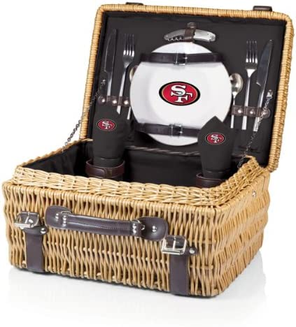 NFL San Francisco 49ers Champion Picnic Basket with Deluxe Service for Two, Black